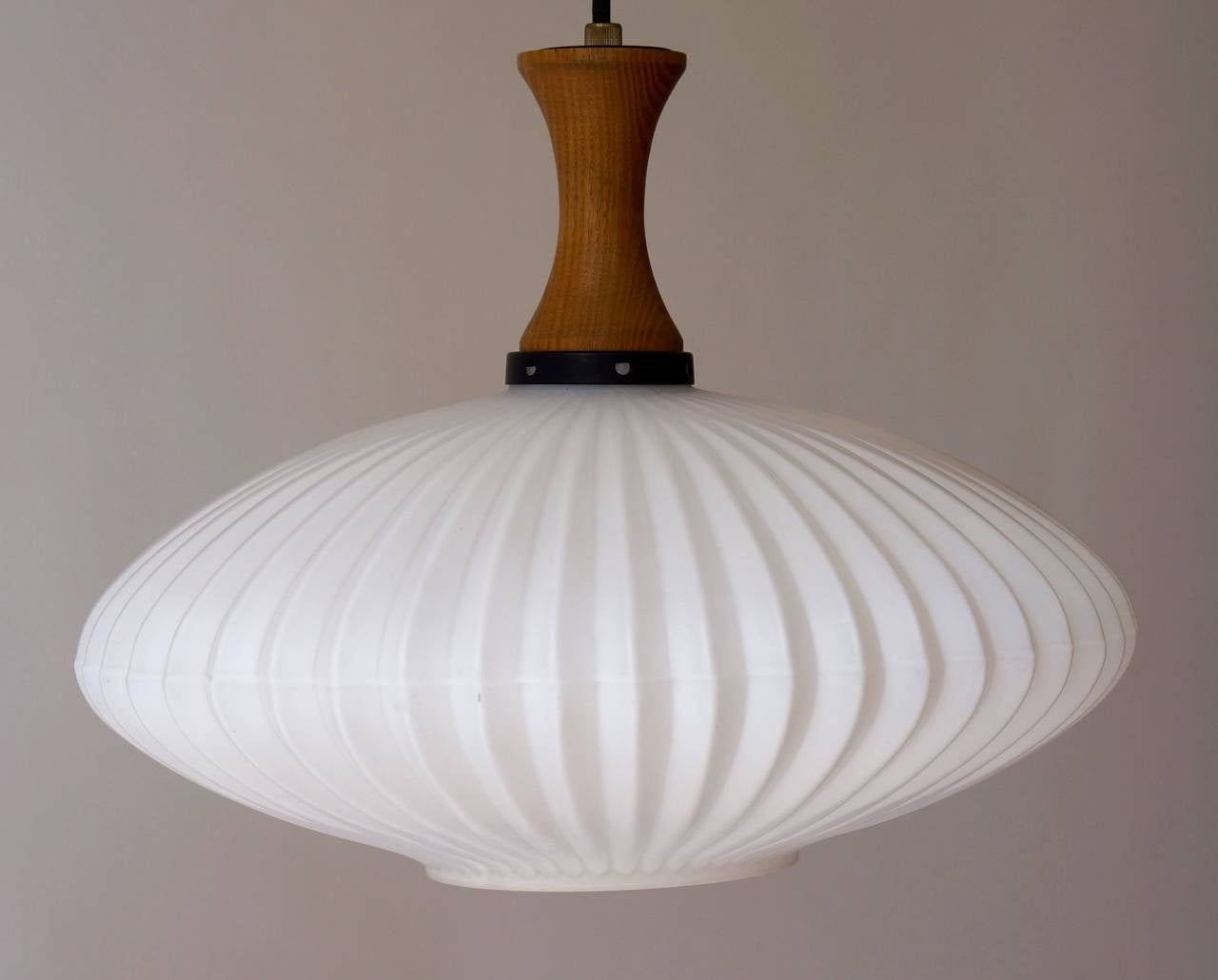 20th Century Mid-Century Danish Glass and Wood Chandelier or Pendant Light For Sale