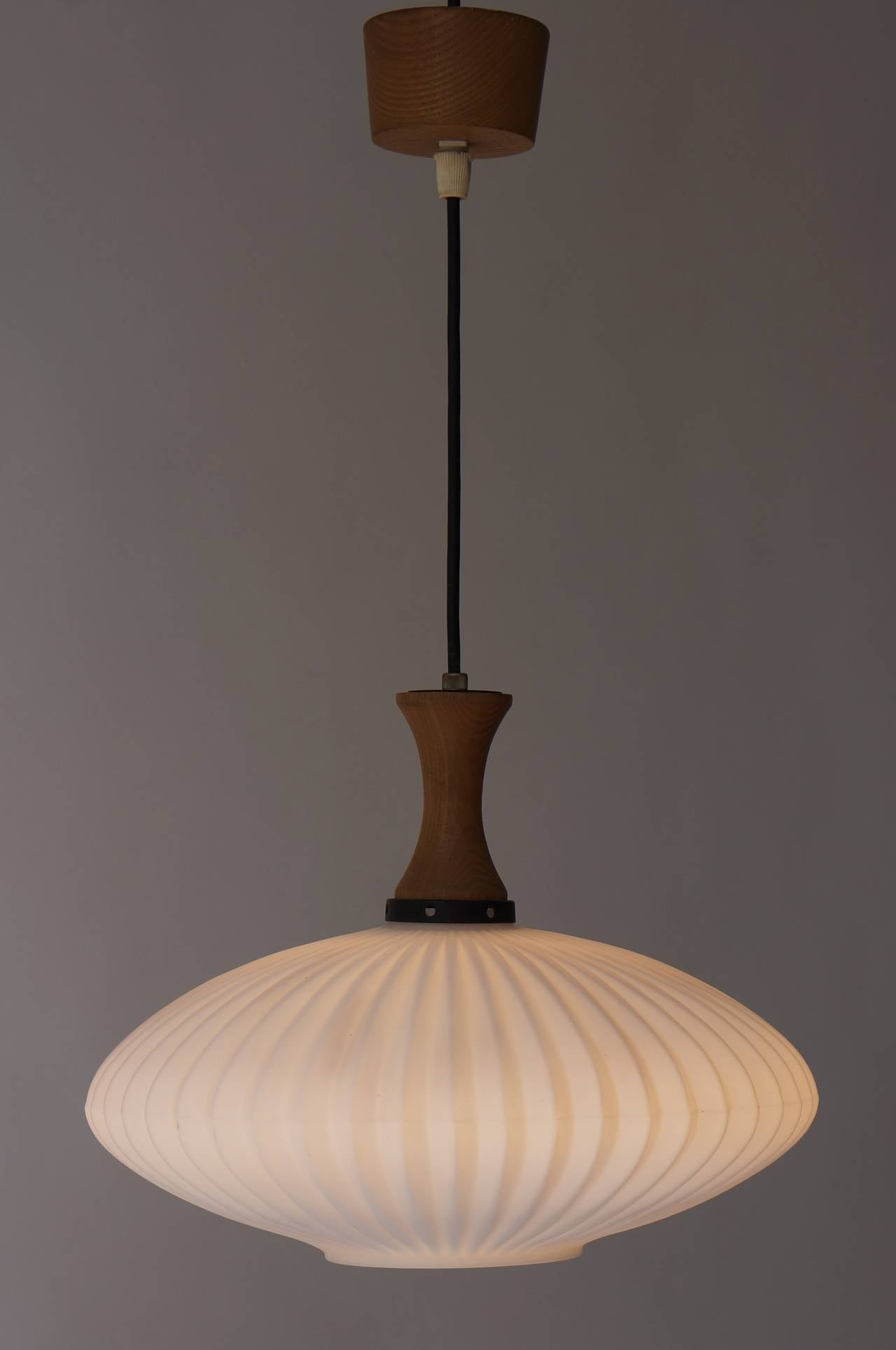 Mid-Century Danish glass and wood chandelier or pendant light.