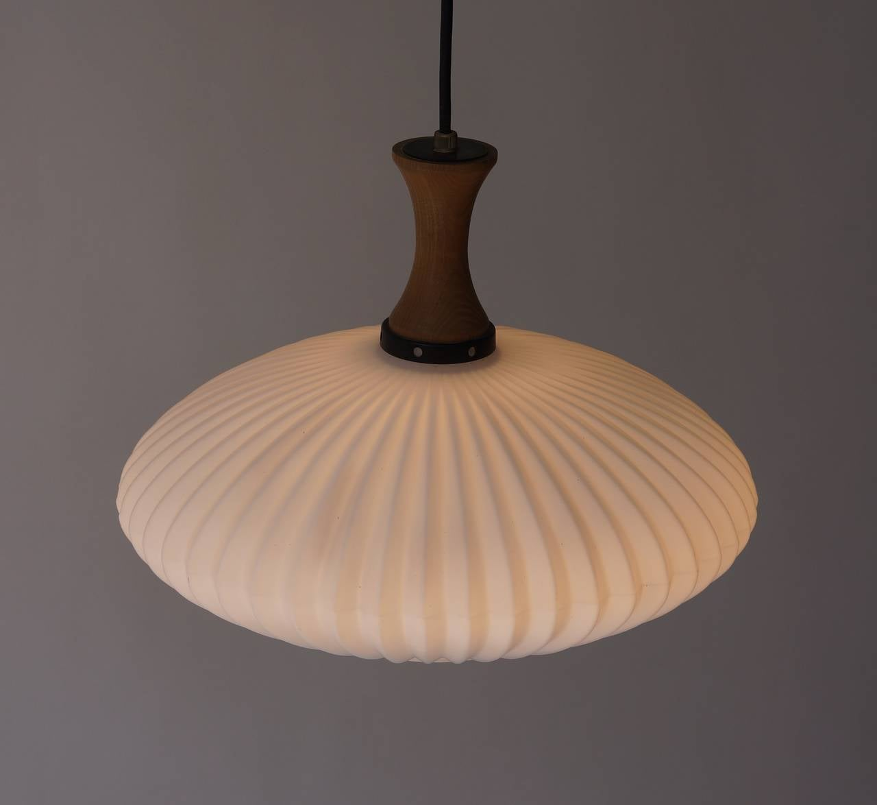 Mid-Century Danish Glass and Wood Chandelier or Pendant Light For Sale 1