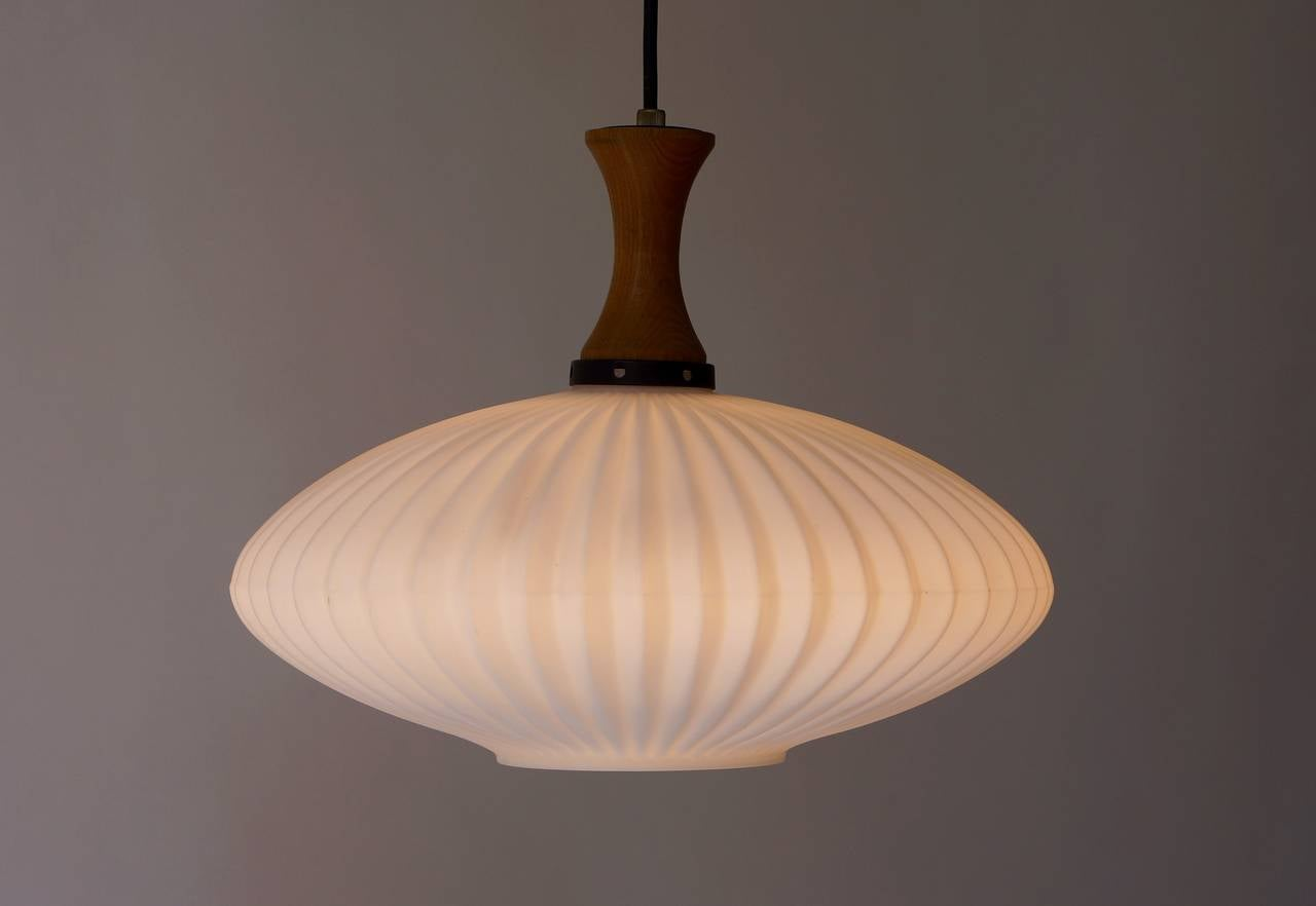 Opaline Glass Mid-Century Danish Glass and Wood Chandelier or Pendant Light For Sale