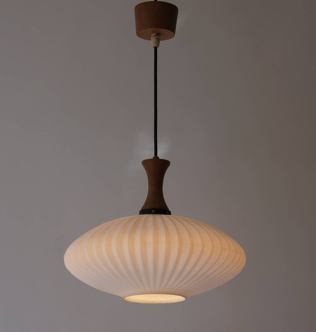 Mid-Century Modern Mid-Century Danish Glass and Wood Chandelier or Pendant Light For Sale