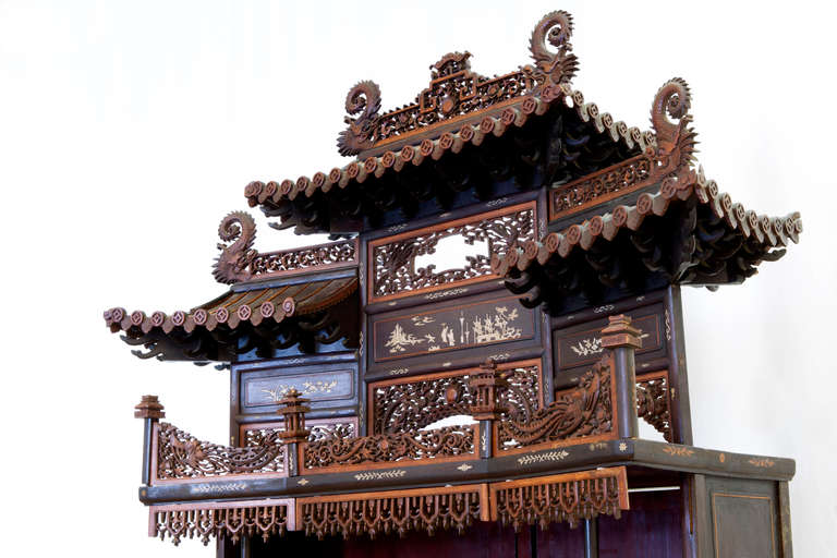 Chinese Rare and Beautiful Architectural Pagode Display Cabinet, China For Sale