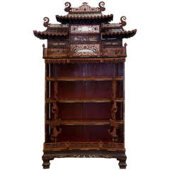 Rare and Beautiful Architectural Pagode Display Cabinet, China
