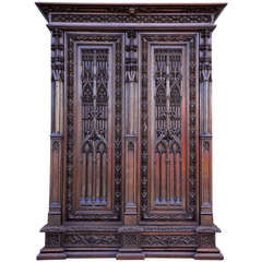 Gothic Revival Oak Armoire in the Spirit of Violett-le-duc