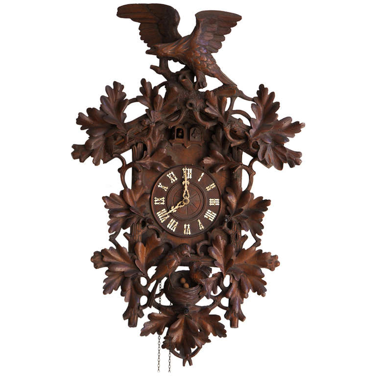 Tall Walnut Black Forest Cuckoo's Clock, Late 19th Century