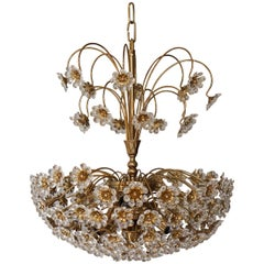 Palwa Brass and Crystal Flower Chandelier
