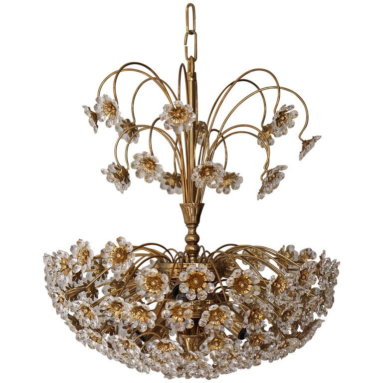Palwa Brass and Crystal Flower Chandelier For Sale