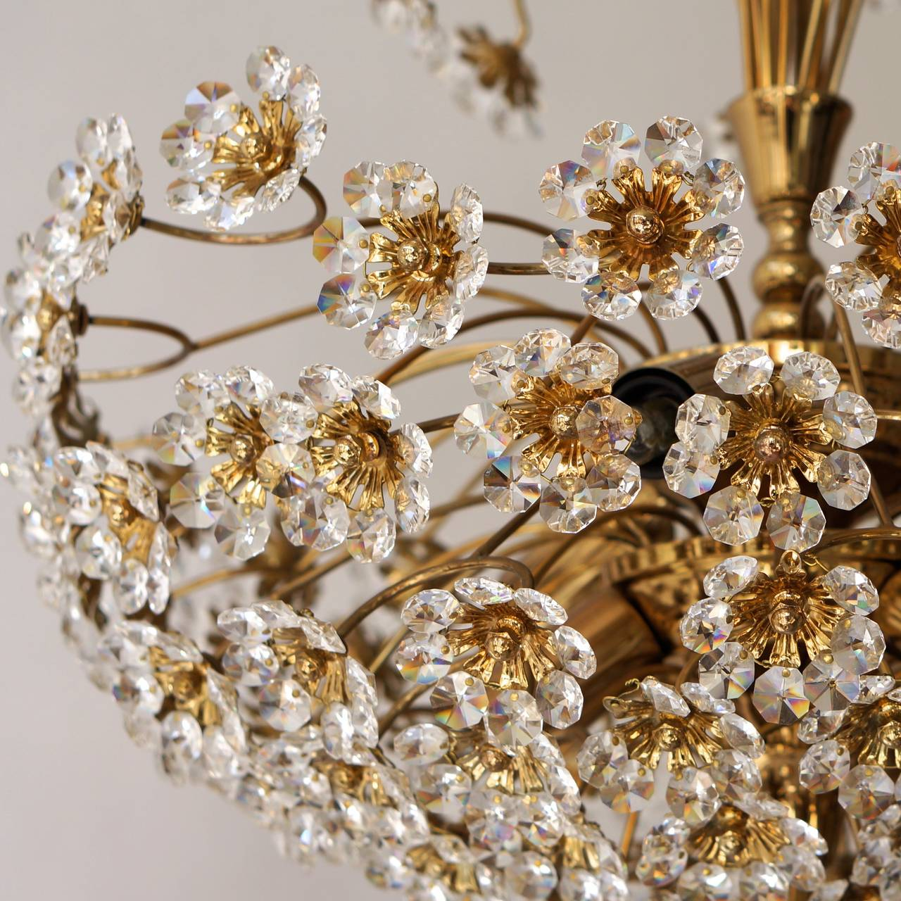 German Palwa Brass and Crystal Flower Chandelier For Sale