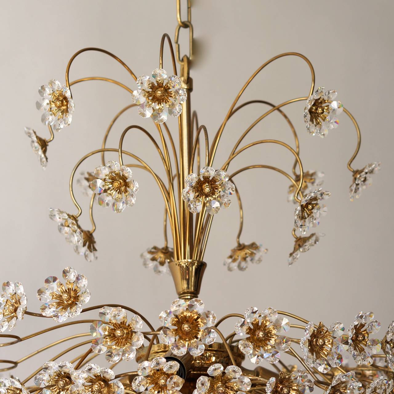 Palwa Brass and Crystal Flower Chandelier For Sale 3
