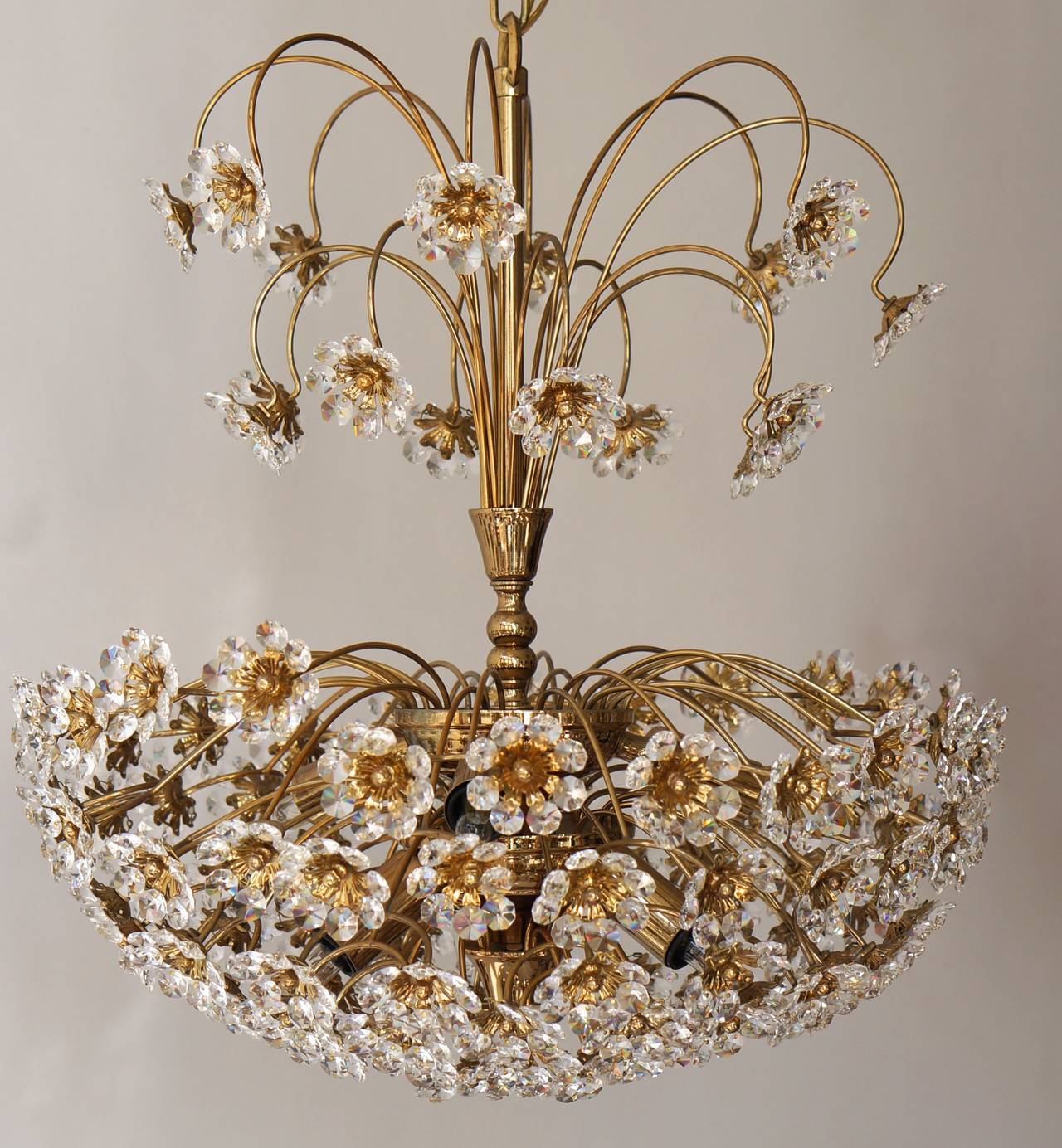 Mid-Century Modern Palwa Brass and Crystal Flower Chandelier For Sale