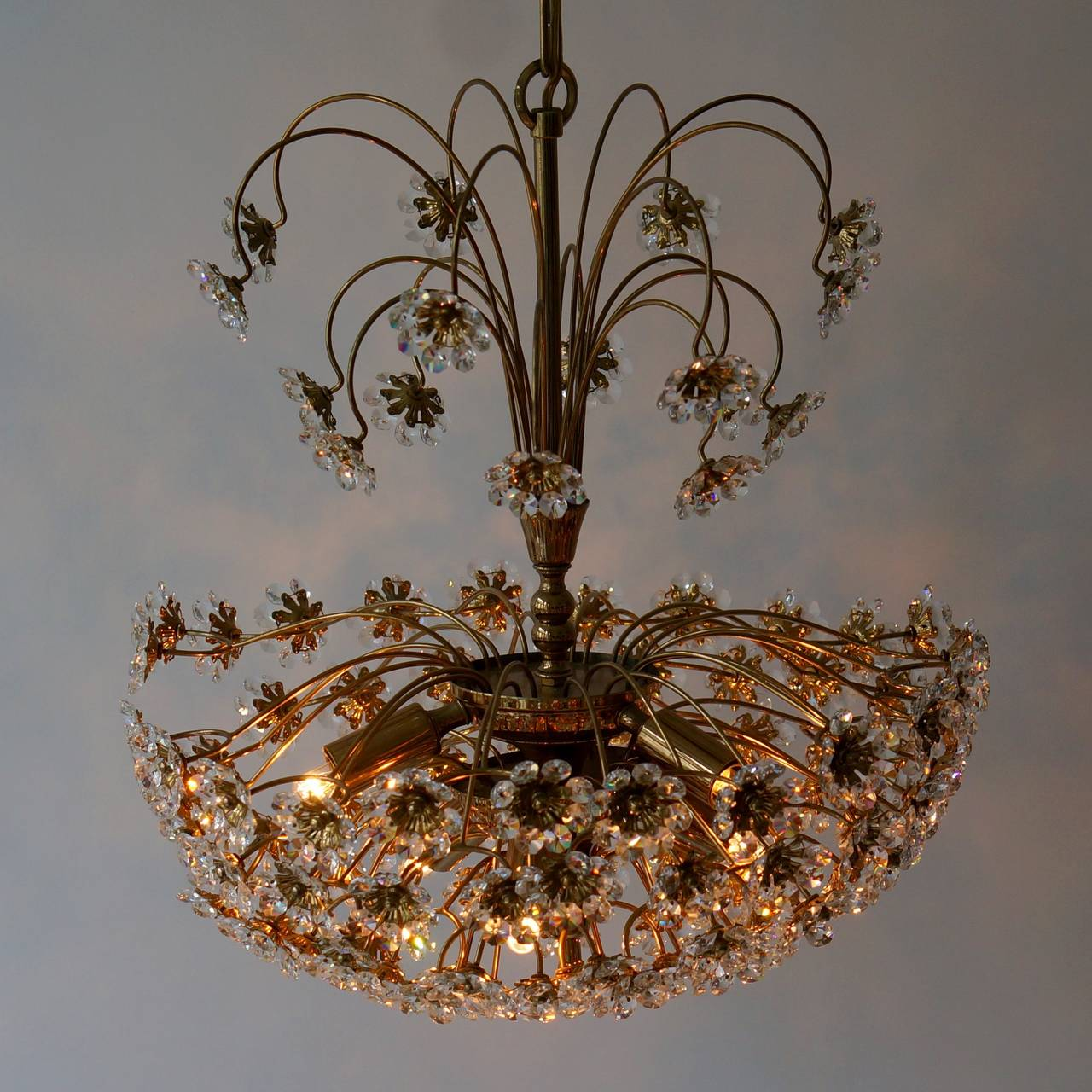 20th Century Palwa Brass and Crystal Flower Chandelier For Sale