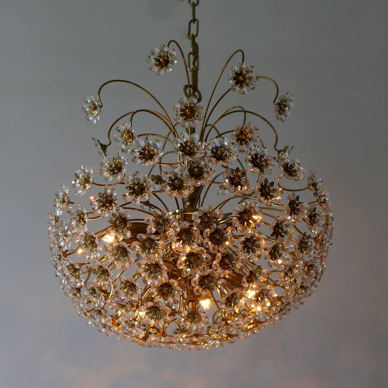 Palwa Brass and Crystal Flower Chandelier For Sale 2