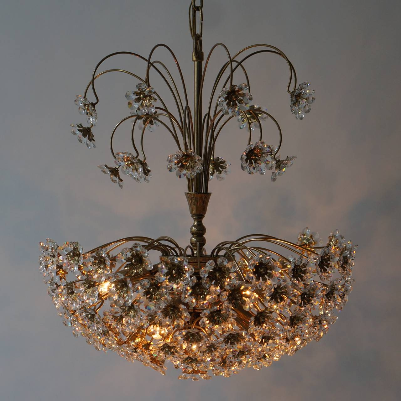 Gilt Palwa Brass and Crystal Flower Chandelier For Sale