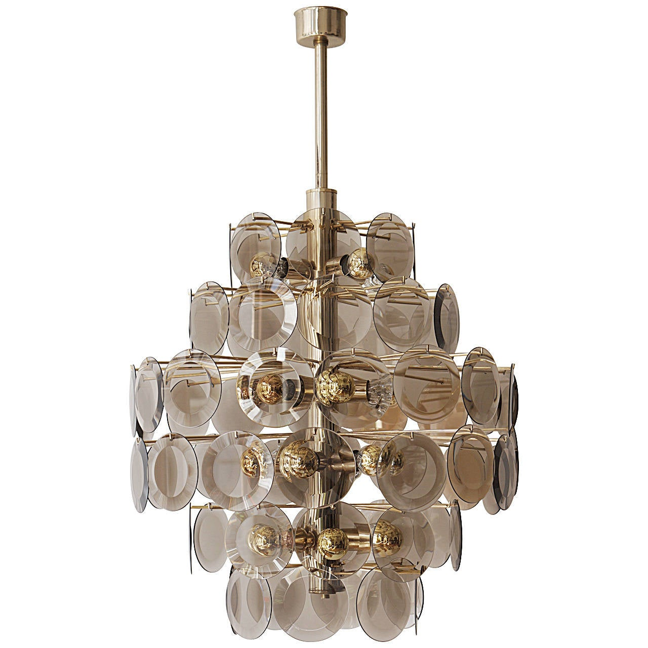 Large Vistosi Chandelier with 71 Murano Glass Discs