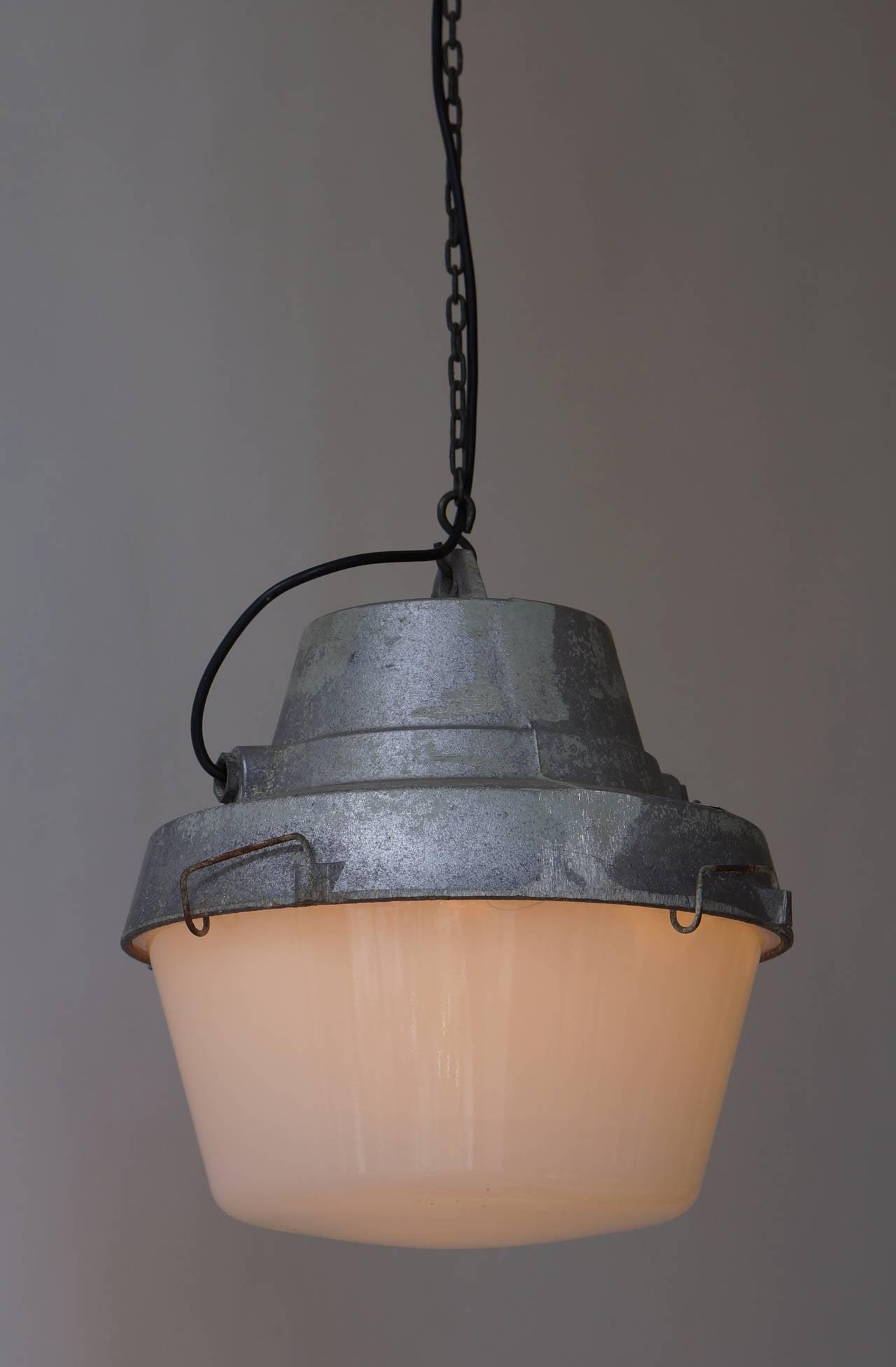 Slovakian Set of Five Industrial Pendant Lights For Sale