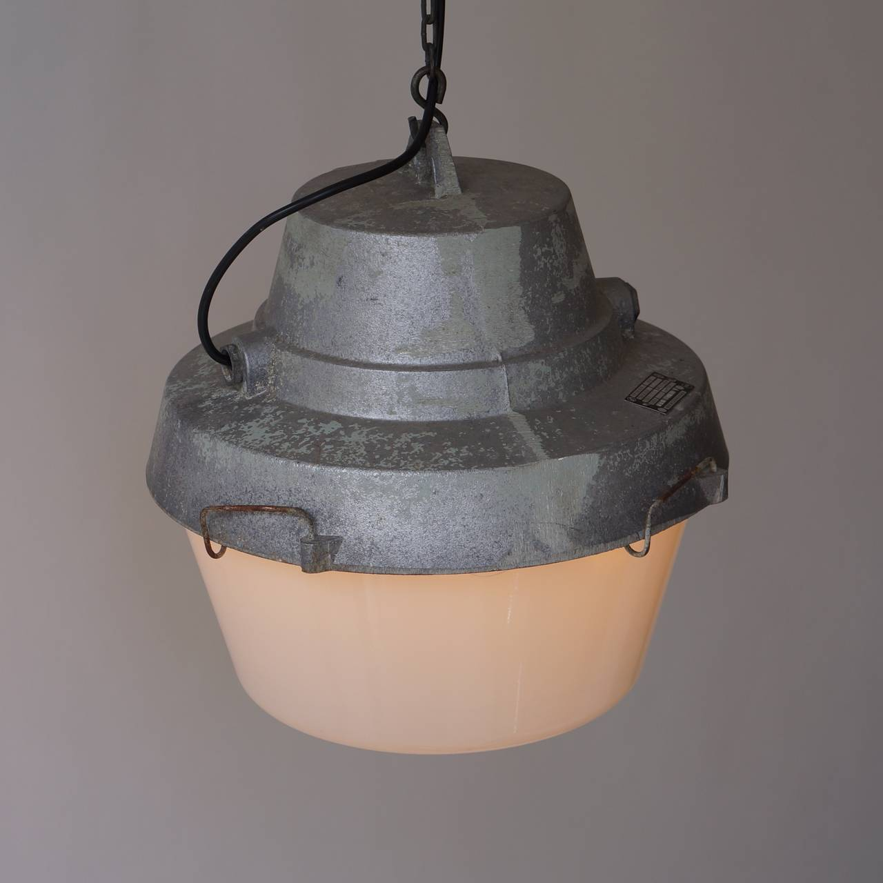 Mid-Century Modern Set of Five Industrial Pendant Lights For Sale