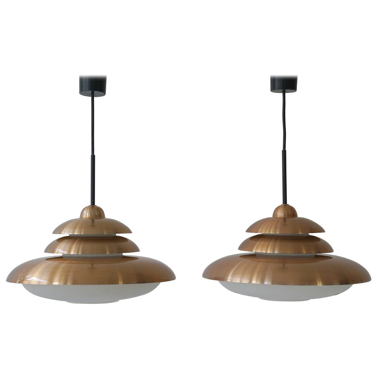 Doria Opaline and Copper Pendant Light