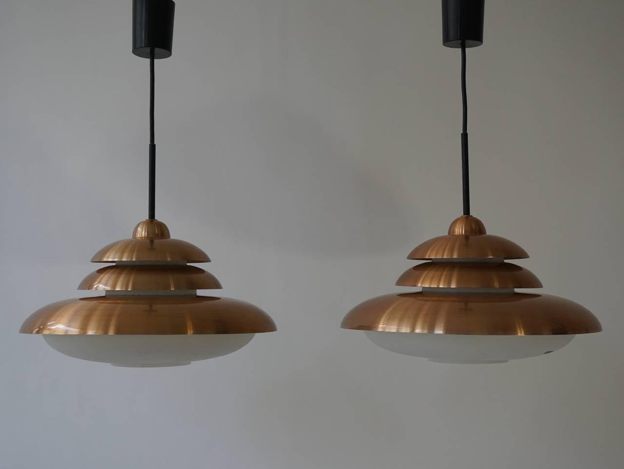 Doria Opaline and Copper Pendant Light 4