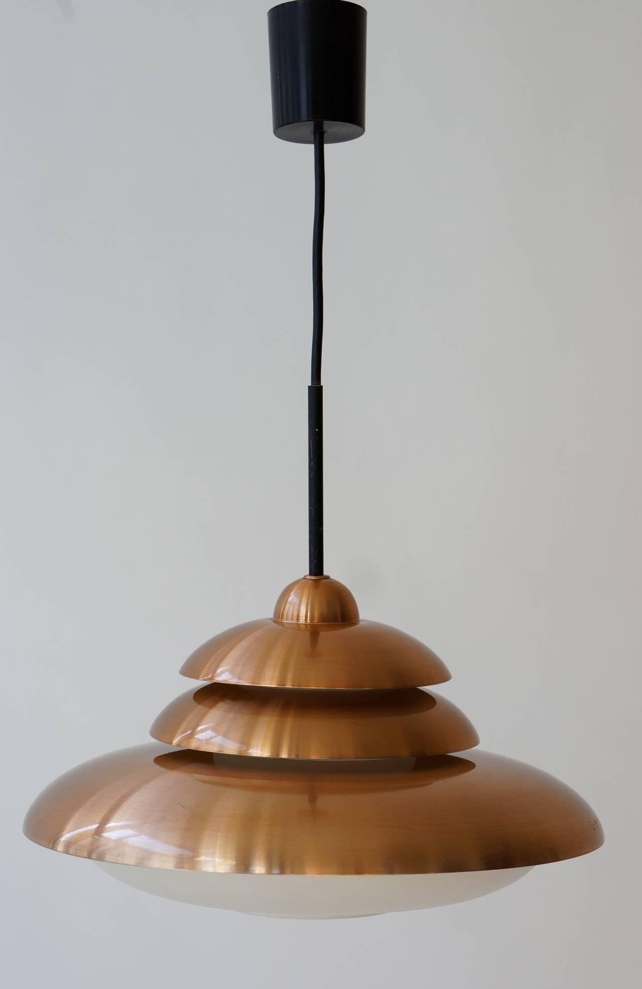 20th Century Doria Opaline and Copper Pendant Light For Sale