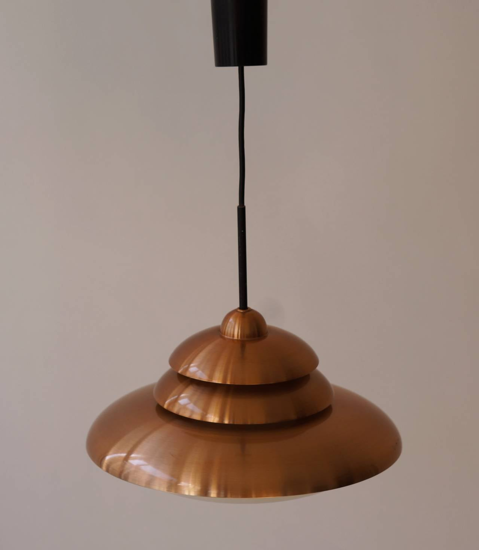 Mid-Century Modern Doria Opaline and Copper Pendant Light For Sale