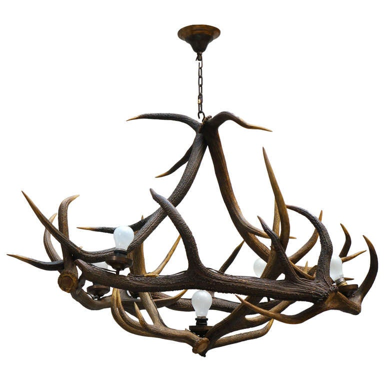Extra-Large French Antler Five-Light Chandelier, circa 1920