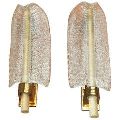 Pair of Murano Glass Leaf Sconces by Barovier & Toso