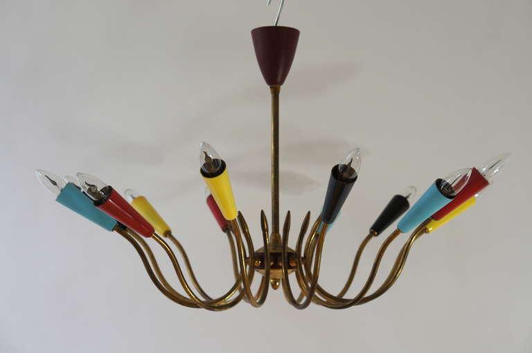 Brass Impressive Italian Twelve-Arm Chandelier in the Style of Stilnovo For Sale