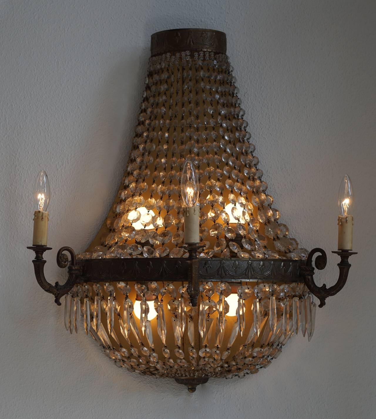 Set of Four Huge French Bronze and Crystal Wall Sconces, circa 1960 For Sale at 1stdibs