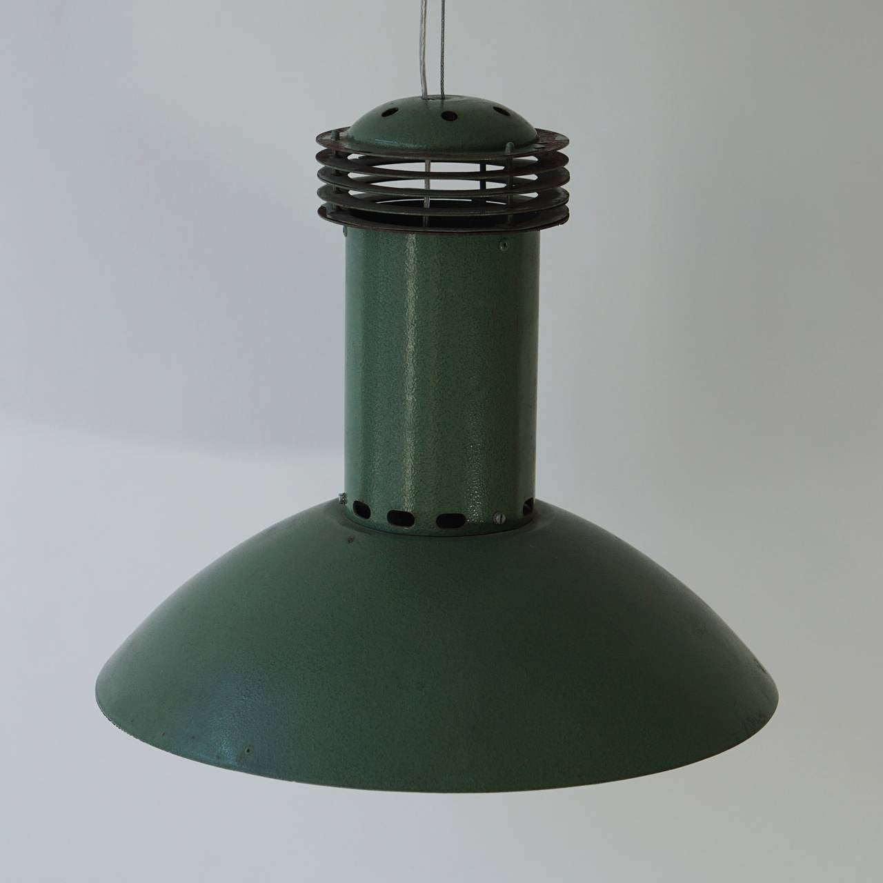 Mid-Century Modern One Green Metal  Industrial Light For Sale