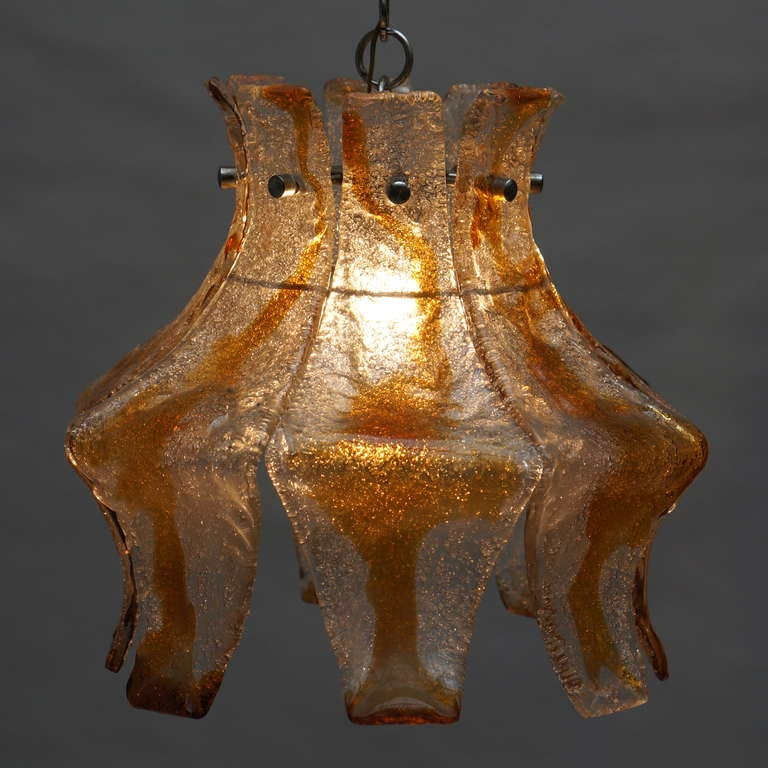Murano Blown Amber Glass Chandelier 8