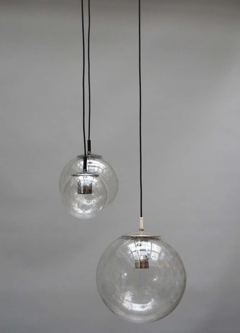 Mid-Century Modern RAAK Three-Globe Chandelier For Sale