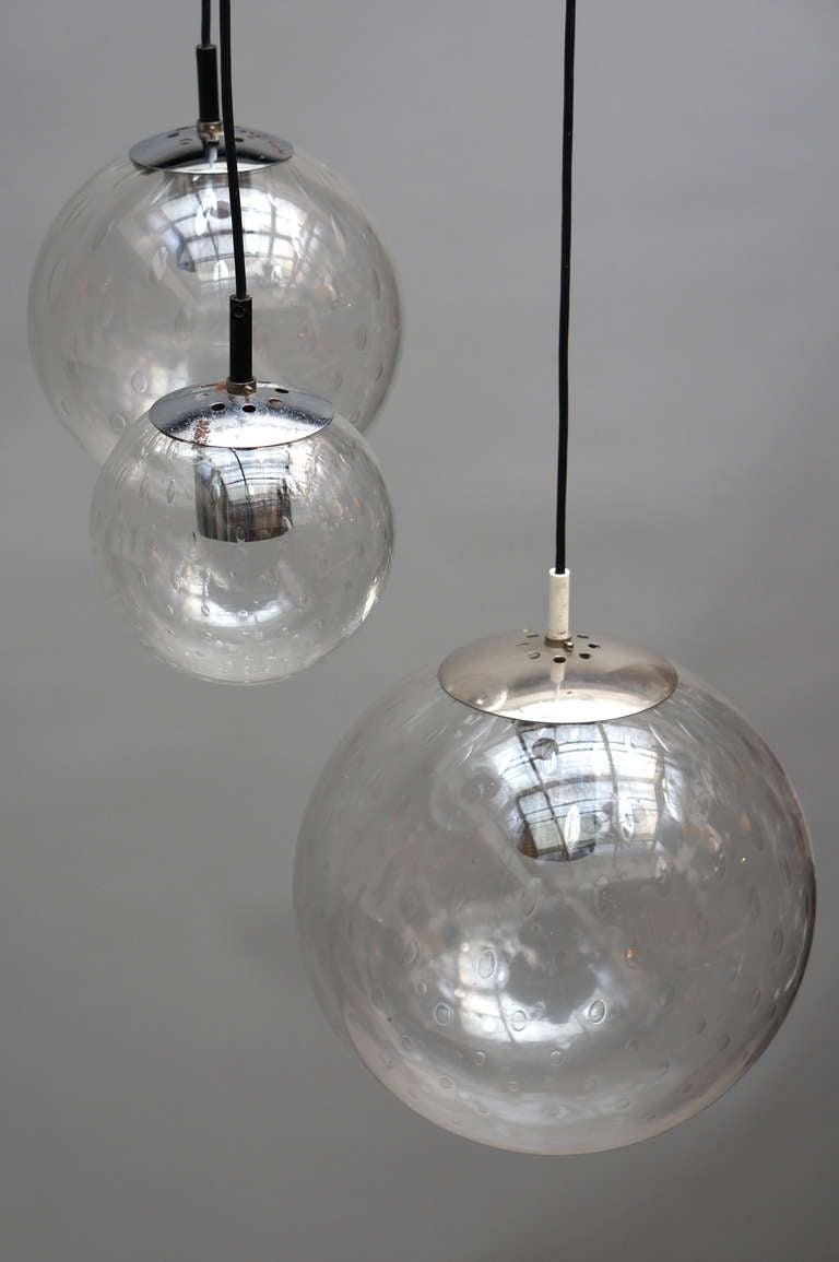 Dutch RAAK Three-Globe Chandelier For Sale