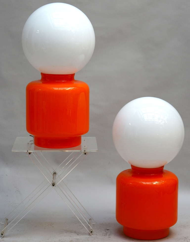 Pair of Murano table lamps,