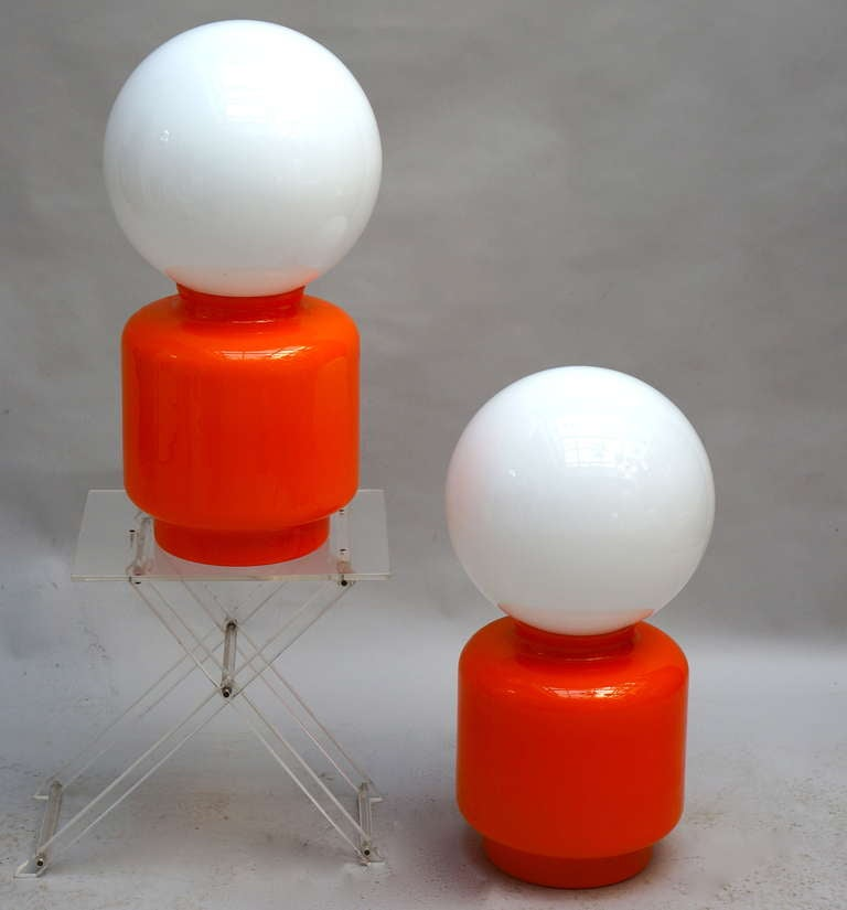 Mid-Century Modern Pair of Murano Table Lamps For Sale
