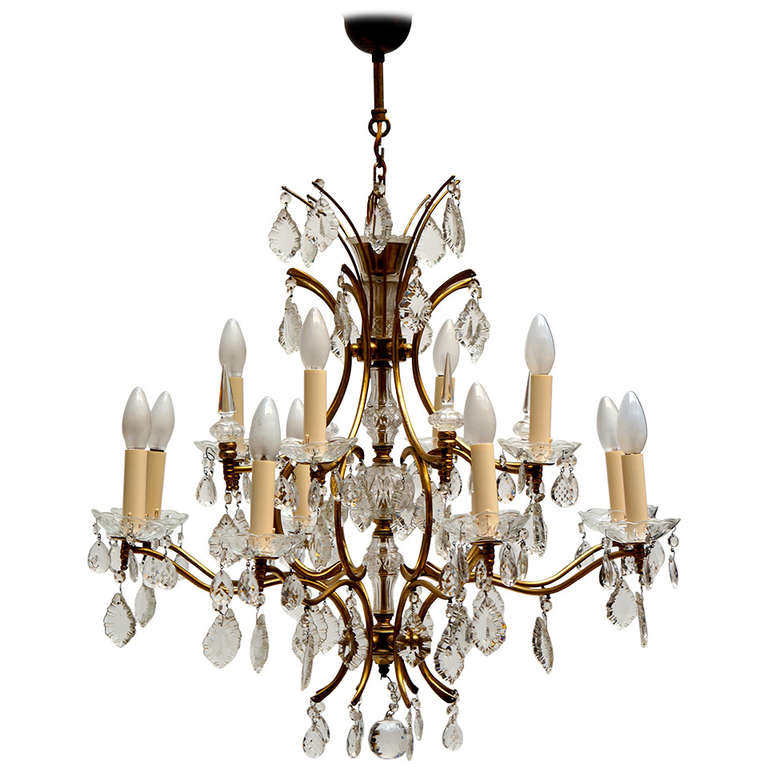 Italian Brass and Crystal Chandelier