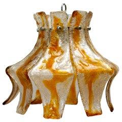 Murano Blown Amber Glass Chandelier