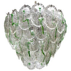 Large Murano Chandelier with Four Rows of Clear and Green Glass Leaves