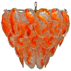 Large Murano Glass Chandelier with 40 Glass Leaves