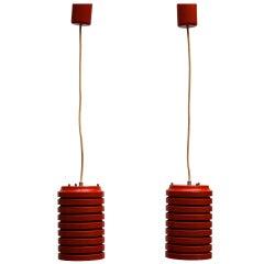 Pair of Pendants in Red Painted Steel
