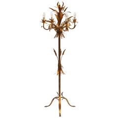 Rare Gilt Metal Sheaf of Wheat Floor Lamp