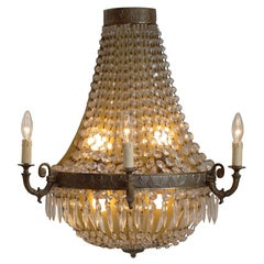 Set of Four Huge French Bronze and Crystal Wall Sconces, circa 1960