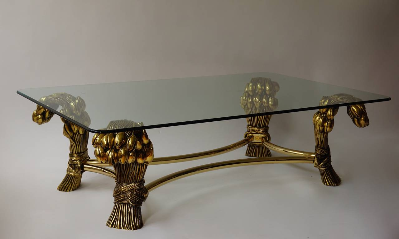 Mid-Century Modern Glass Coffee Table in the Manner of Maison Jansen For Sale
