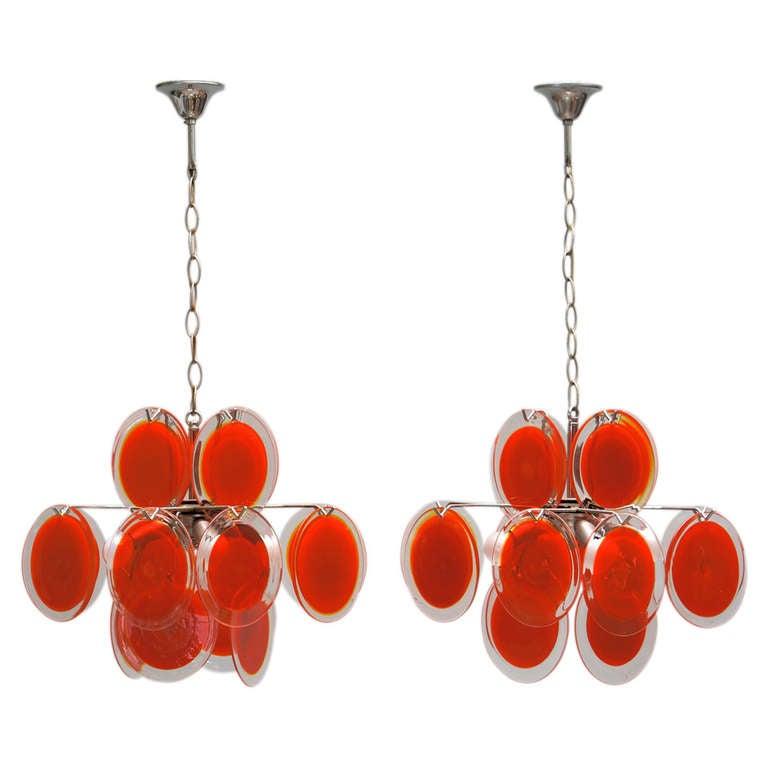 Pair of Vistosi Murano Chandeliers For Sale