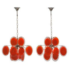 Pair of Vistosi Murano Chandeliers