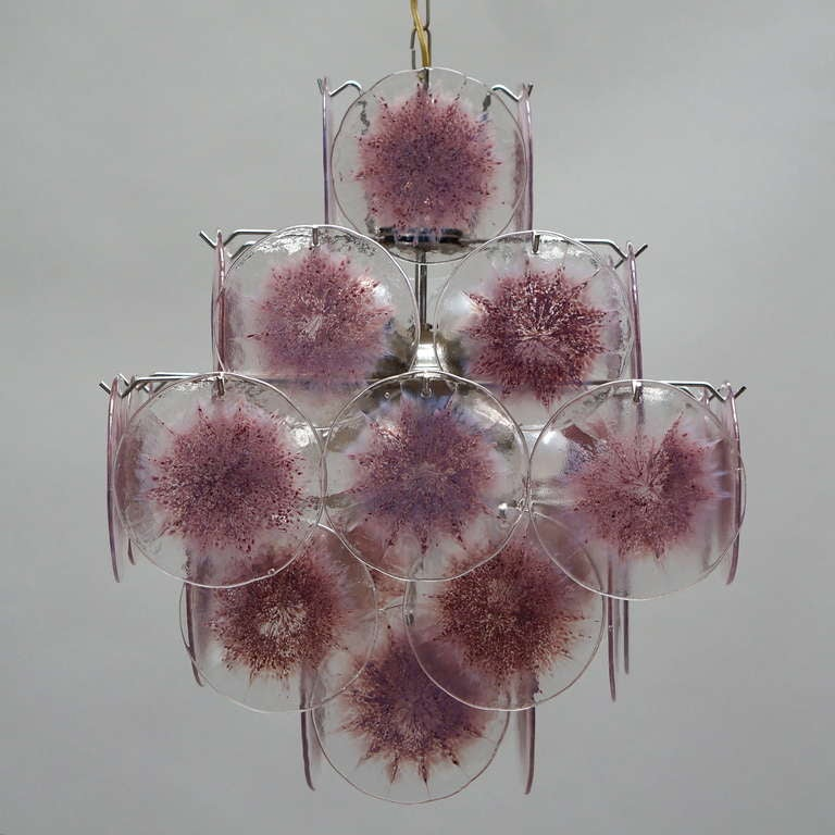 Mid-Century Modern Murano Glass Chandelier, Italy For Sale