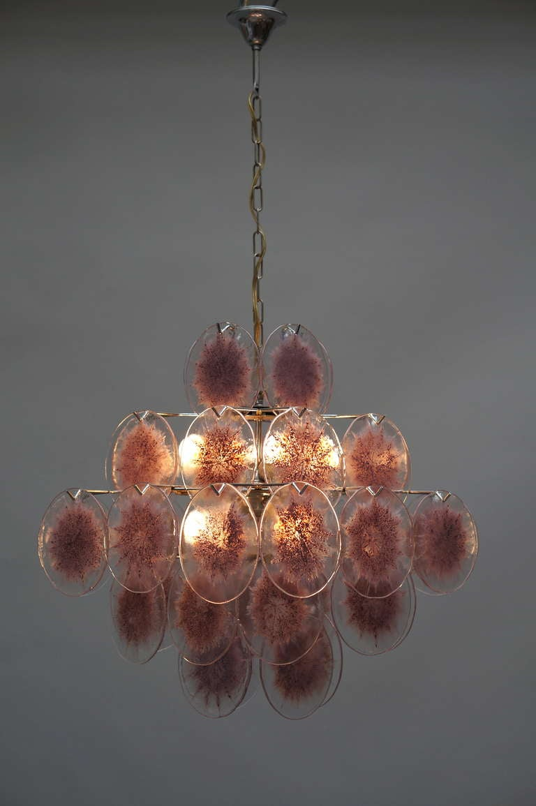 Metal Murano Glass Chandelier, Italy For Sale