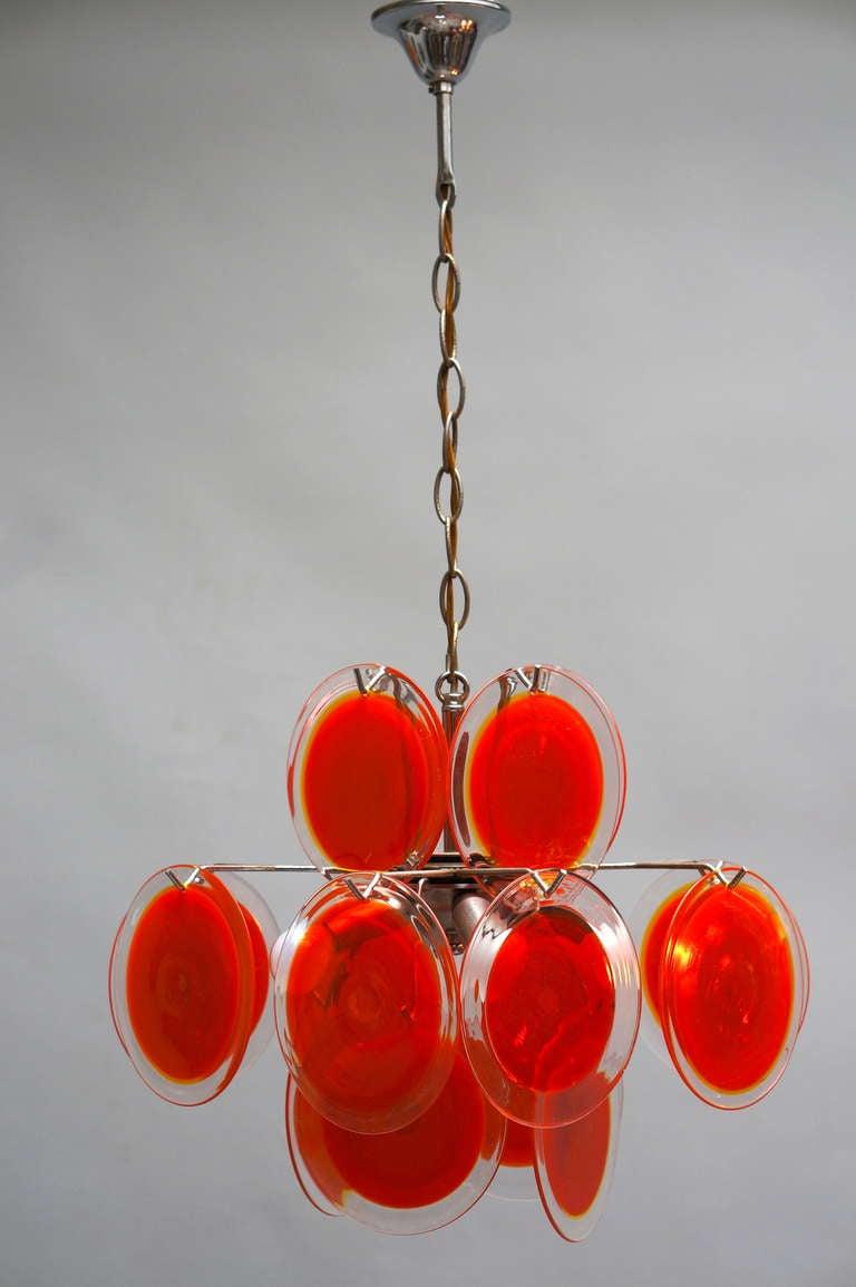 Pair of Vistosi Murano Chandeliers For Sale 1