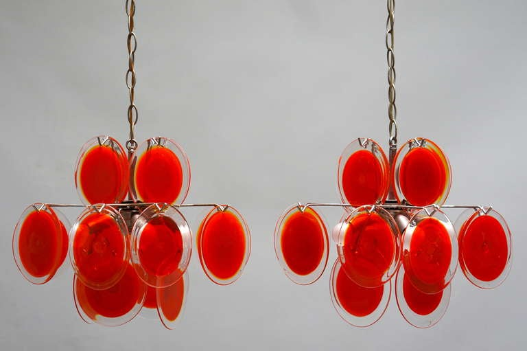Mid-20th Century Pair of Vistosi Murano Chandeliers For Sale