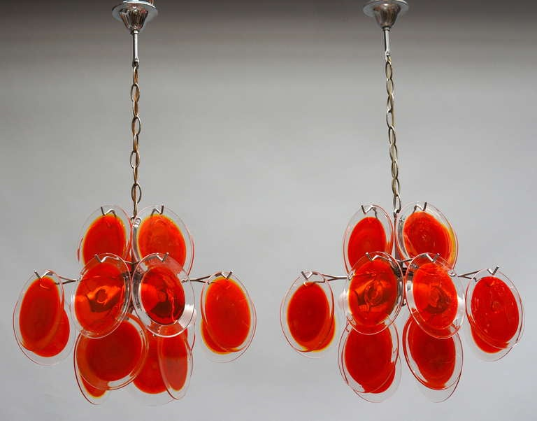 Pair of Vistosi Murano Chandeliers In Excellent Condition For Sale In Antwerp, BE