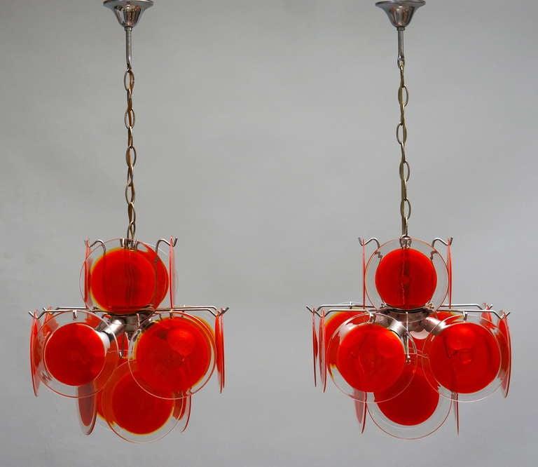 Mid-Century Modern Pair of Vistosi Murano Chandeliers For Sale